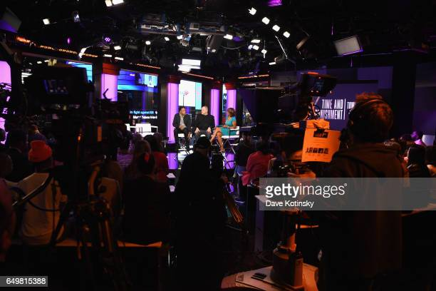 Jay Z Harvey Weinstein and Gayle King speak onstage during TIME AND PUNISHMENT A Town Hall Discussion with JAY Z and Harvey Weinstein on Spike TV at...