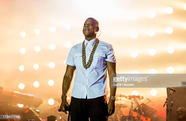 Jay Z performs as he headlines the main stage on day 2 of the Yahoo Wireless Festival at Queen Elizabeth Olympic Park on July 13 2013 in London...
