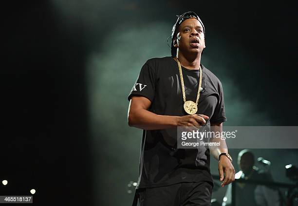 Jay Z performs on stage at Air Canada Centre during his Magna Carter World Tour on January 27 2014 in Toronto Canada