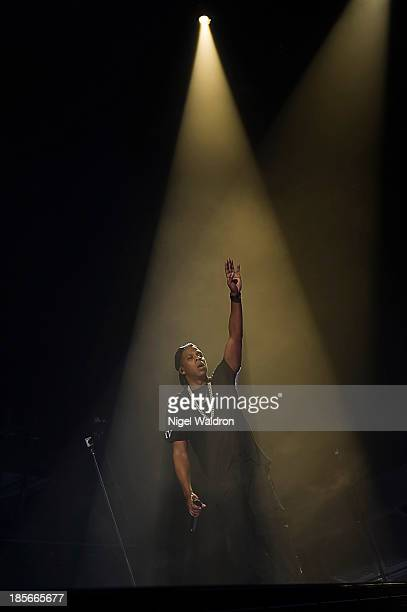 Jay Z performs on stage at Oslo Spektrum during his Magna Carter World Tour 2013 on October 23 2013 in Oslo Norway