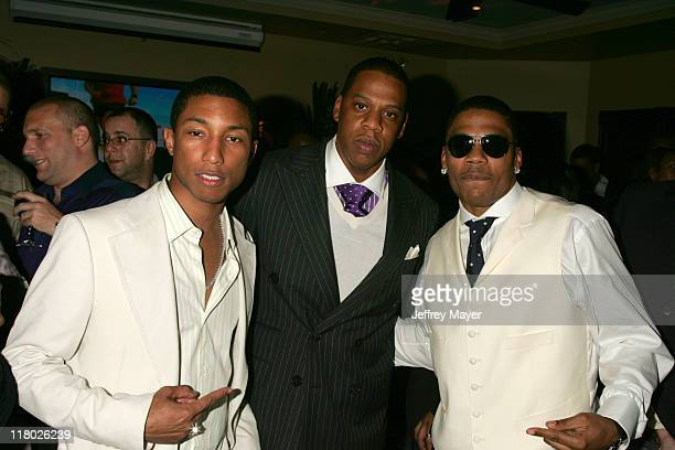 Jay Z Pharrell Williams and Nelly during Universal Music Group 2005 PostGRAMMY Party at The Palms Restaurant in Los Angeles California United States