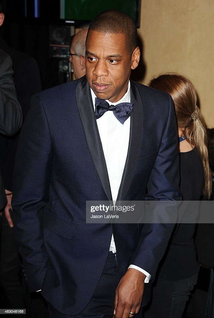 Jay Z poses in the press room at the 57th GRAMMY Awards at Staples Center on February 8, 2015 in Los Angeles, California.