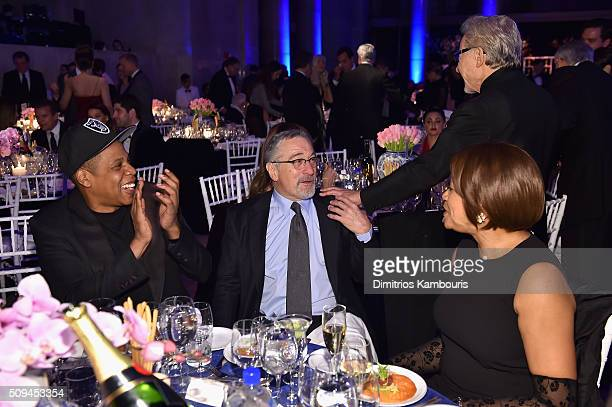 Jay Z Robert De Niro and Grace Hightower attends the 2016 amfAR New York Gala at Cipriani Wall Street on February 10 2016 in New York City