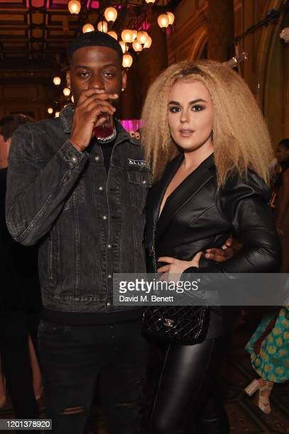 Jay1 and Tallia Storm attend the Ethical Designer Showcase featuring Oh Polly during London Fashion Week February 2020 at The Royal Horseguards on...