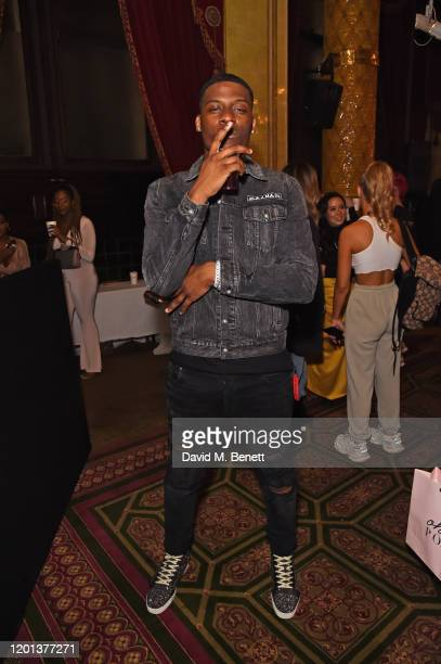 Jay1 attends the Ethical Designer Showcase featuring Oh Polly during London Fashion Week February 2020 at The Royal Horseguards on February 16 2020...