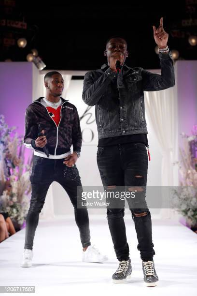 Jay1 performs at the Oh Polly Fashion Show By Planet Fashion at London Fashion Week at The Royal Horseguards on February 16 2020 in London England