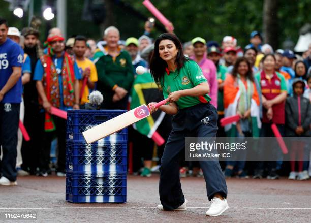 Jaya Ahsan of Bangladesh bats during the ICC Cricket World Cup 2019 Opening Party at The Mall on May 29 2019 in London England