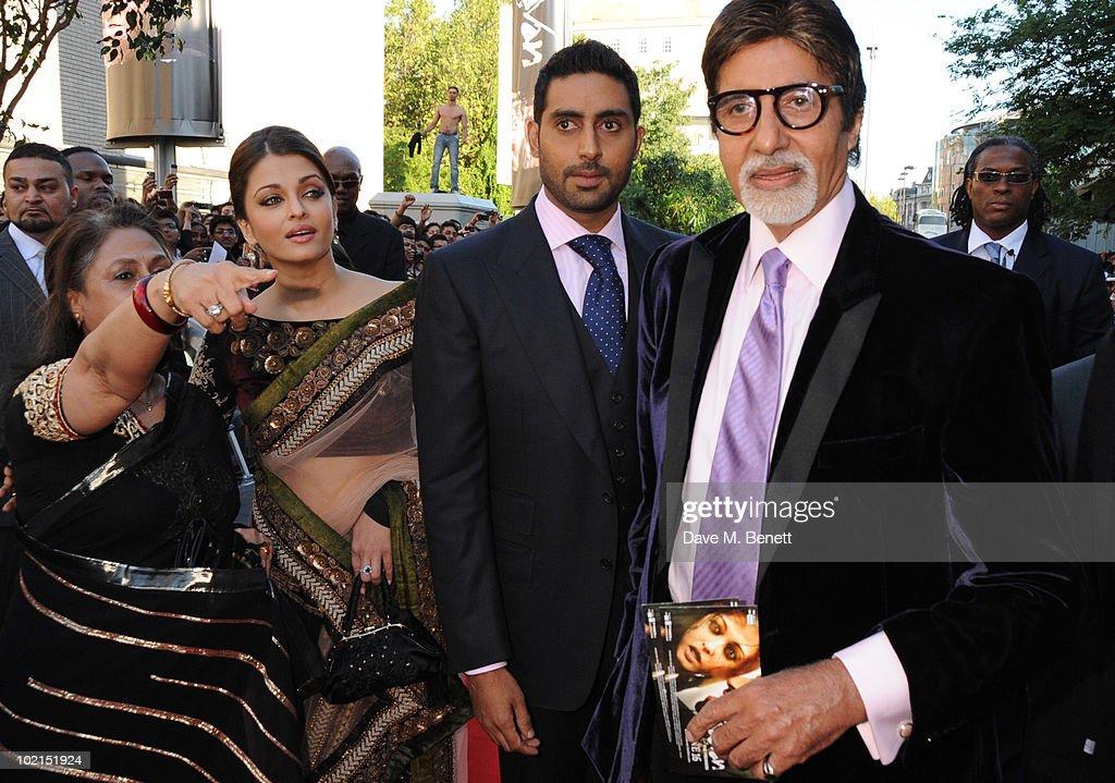 Jaya Bachchan Aishwarya Rai Bachchan Abhishek Bachchan and Amitabh Bachchan attend the World film premiere of `Raavan` at the BFI Southbank on June...