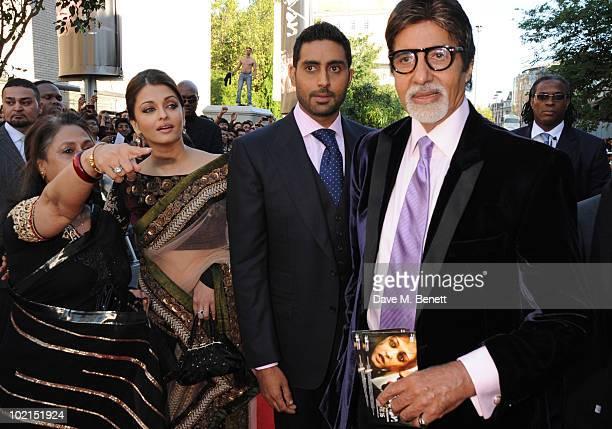 Jaya Bachchan Aishwarya Rai Bachchan Abhishek Bachchan and Amitabh Bachchan attend the World film premiere of 'Raavan' at the BFI Southbank on June...