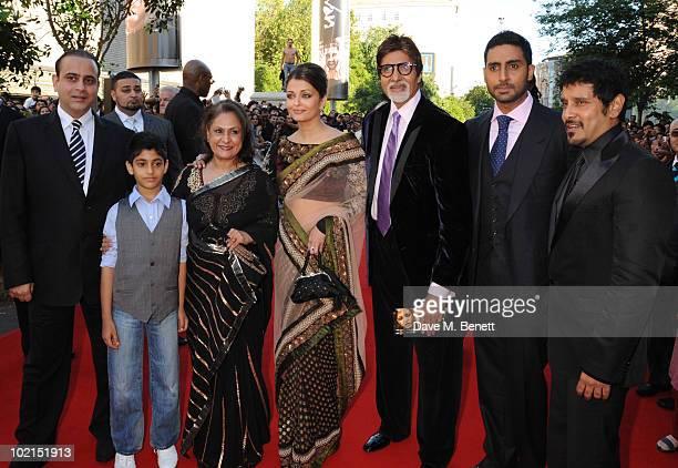 Jaya Bachchan Aishwarya Rai Bachchan Amitabh Bachchan Abhishek Bachchan and Vikram attend the World film premiere of 'Raavan' at the BFI Southbank on...