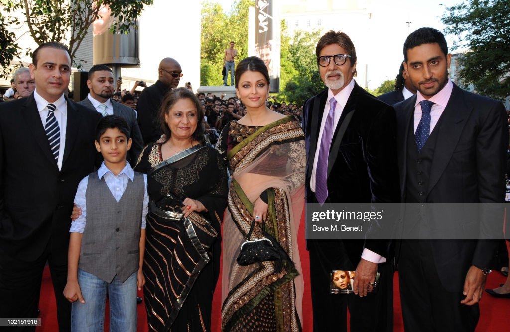 Jaya Bachchan Aishwarya Rai Bachchan Amitabh Bachchan and Abhishek Bachchan attend the World film premiere of 'Raavan' at the BFI Southbank on
