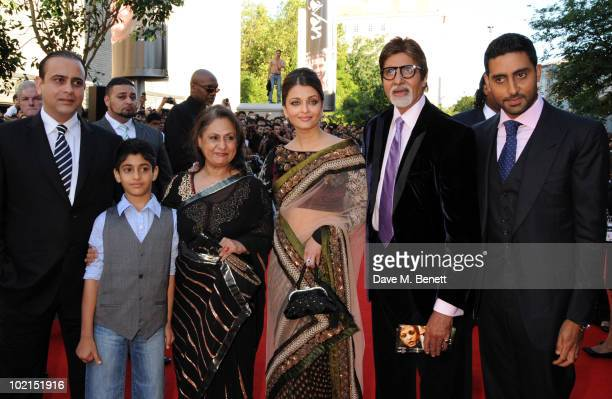 Jaya Bachchan Aishwarya Rai Bachchan Amitabh Bachchan and Abhishek Bachchan attend the World film premiere of 'Raavan' at the BFI Southbank on June...