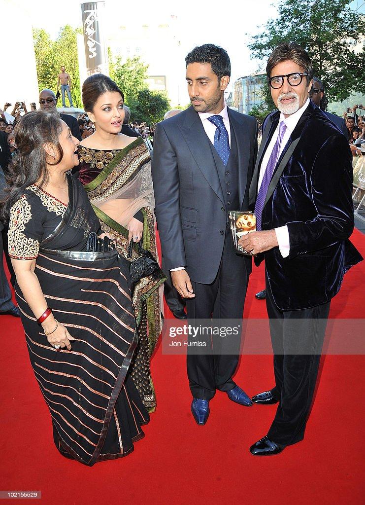 Jaya Bachchan Aishwarya Rai Bachchan and Abhishek Bachchan and Amitabh Bachchan arrives at the London premiere of `Raavan` at BFI Southbank on June...