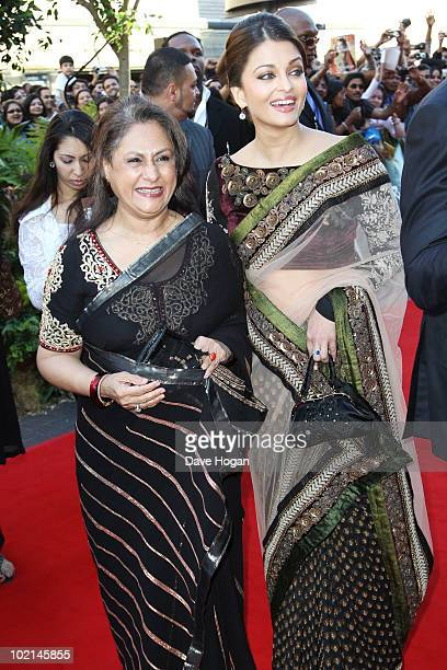 Jaya Bachchan and Aishwarya Rai attend the world premiere of Raavan held at The BFI Southbank on June 16 2010 in London England