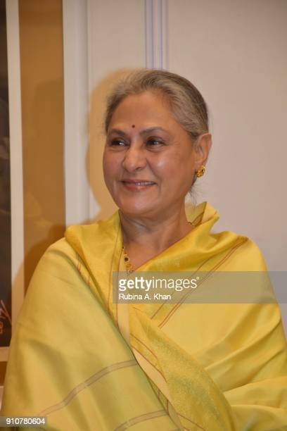 Jaya Bachchan at Dilip De's Smartphone School Of Art Exhibit 'Celebration Of The Unexpected' where all the digital artworks he'd created on a Samsung...