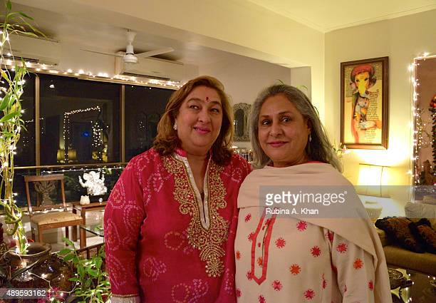 Jaya Bachchan attends Rima Jain's Ganpati Aarti on the sixth day of the ongoing Ganesh Chaturthi festival on September 22 2015 in Mumbai India