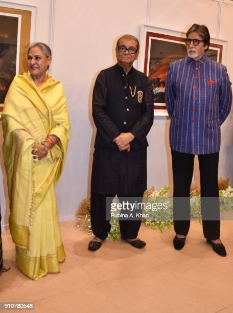 Jaya Bachchan Dilip De and Amitabh Bachchan at De's Smartphone School Of Art Exhibit 'Celebration Of The Unexpected' at Jehangir Art Gallery on...