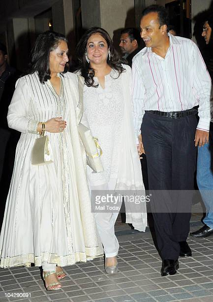 Jaya Bachchan Tina and Anil Ambani at actress Shabana Azmi's birthday party in Mumbai on September 18 2010