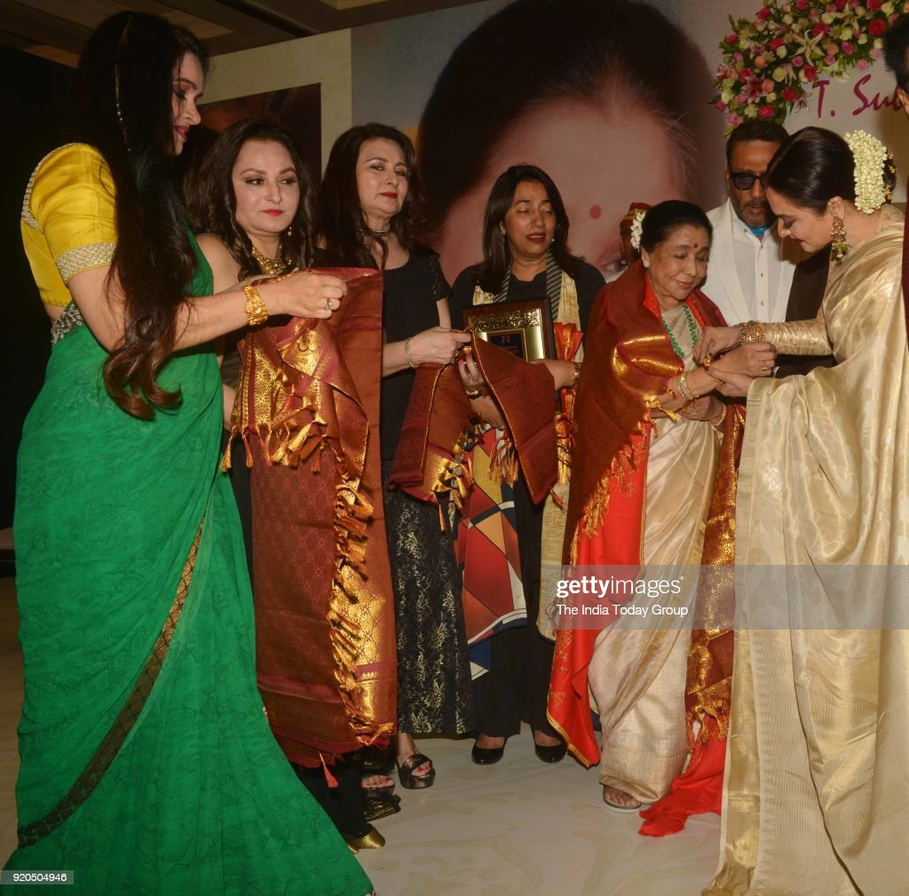 Jaya Prada Padmini Kolhapure Poonam Dhillon Rekha and Asha Bhosle at the Yash Chopra Memorial Award 2018 in Mumbai