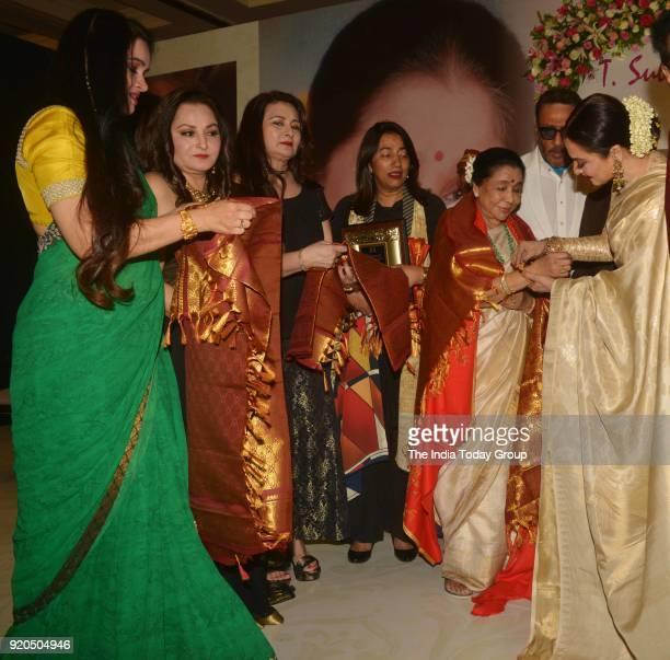 Jaya Prada Padmini Kolhapure Poonam Dhillon Rekha and Asha Bhosle at the Yash Chopra Memorial Award 2018 in Mumbai