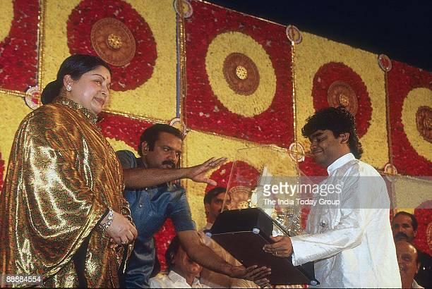 Jayalalitha Chief Minister presenting an Award to AR Rahman