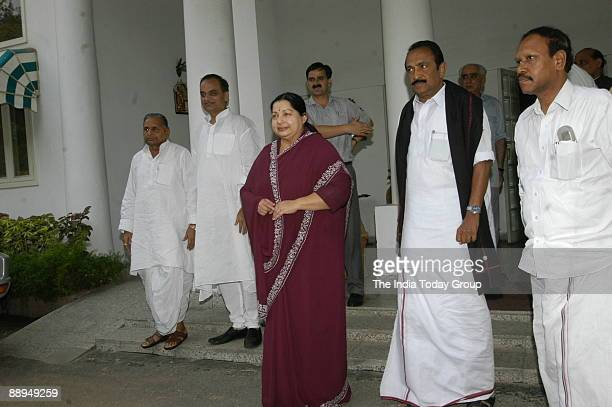 Jayalalitha former Chief Minister of Tamil Nadu and President of All India Anna Dravida Munetra Khazagam and others coming out after the meeting with...