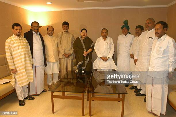 Jayalalitha former Chief Minister of Tamil Nadu and President of All India Anna Dravida Munetra Khazagam along with Chandrababu Naidu former Chief...