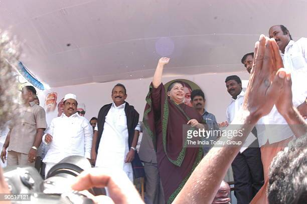 Jayalalitha, former Chief Minister of Tamil Nadu , V Gopalaswamy , MDMK leader and Thirumavalayan with other Party Leaders in the AIADMK Alliance...