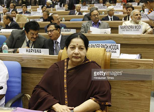 Jayalalithaa Chief Minister of Tamil Nadu at the 57th National Development Council meeting at Vigyan Bhawan on December 27 2012 in New Delhi India
