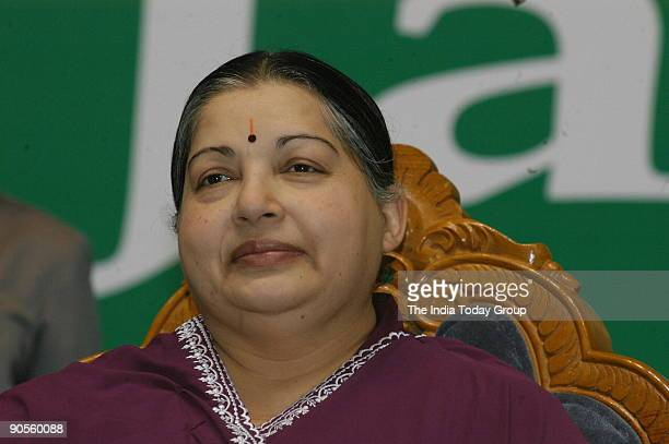 Jayalalithaa Chief Minister of Tamil Nadu at the award Receiving function in Chennai Tamil Nadu India DIGICAMIT USED