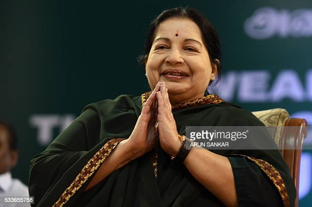 Jayalalithaa Jayaram leader of All India Anna Dravida Munnetra Kazhagam takes part in a swearingin ceremony as chief minister of Tamil Nadu state in...
