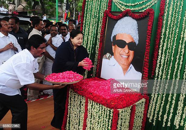Jayalalithaa Jayaram leader of the All India Anna Dravida Munnetra Kazhagam visits a portrait of party founder MG Ramachandran in Chennai on May 20...