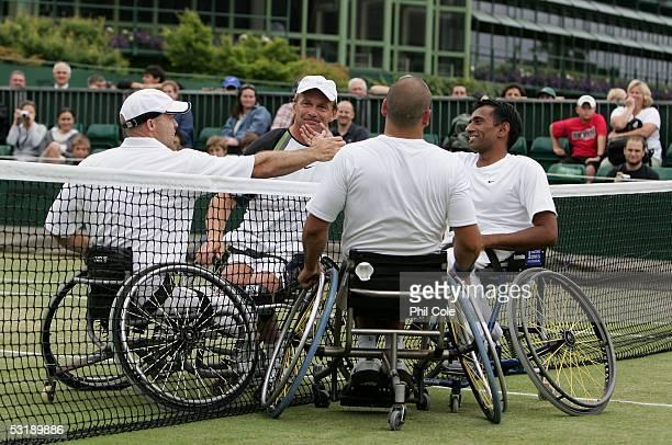 Jayant Mistry of Great Britain with Michael Jeremiasz of France defeat David Hall of Australia and Martin Legner of Australia to win the Wheelchair...