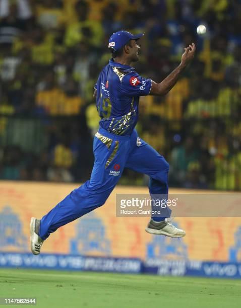 Jayant Yadav of the Mumbai Indians celebrates taking a catch to dismiss Shane Watson of the Chennai Super Kings during the India Premier League IPL...