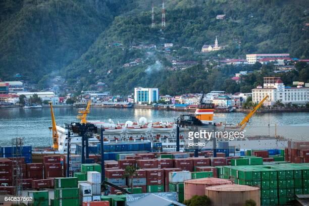 jayapura port - indonesia logistics ストックフォトと画像