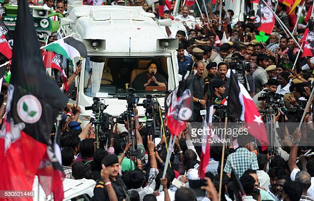 Jayaram Jayalalitha leader of All India Anna Dravida Munnetra Kazhagam attends a public rally during election campaigning in Chennai on May 11 ahead...