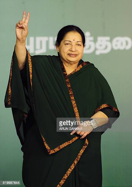 Jayaram Jayalalitha leader of the Anna Dravida Munnetra Kazhagam state political party gestures during a campaign rally in Chennai on April 9 2016...