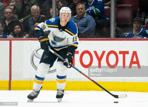 JayBouwmeester of the St Louis Blues skates with the puck during NHL action against the Vancouver Canucks at Rogers Arena on November 5 2019 in...