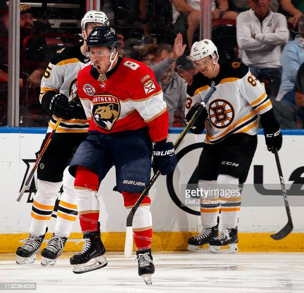 Jayce Hawryluk of the Florida Panthers celebrates his goal during the second period against the Boston Bruins at the BBT Center on March 23 2019 in...