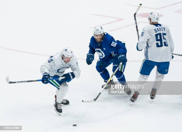 Jayce Hawryluk of the Vancouver Canucks tries to get past Jalen Chatfield during a drill on the first day of the Vancouver Canucks NHL Training Camp...