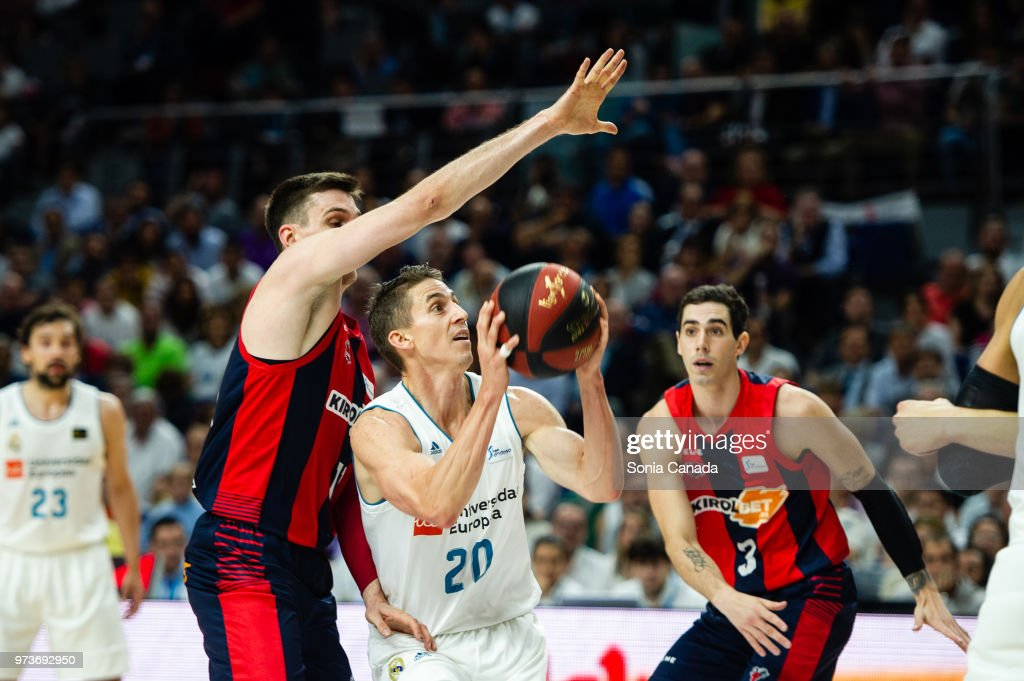 Jaycee Carroll, #20 guard of Real Madrid during the Liga Endesa game between Real Madrid and Kirolbet Baskonia at Wizink Center on June 13, 2018 in Madrid, Spain.