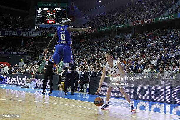 Jaycee Carroll #20 of Real Madrid in action during the 20152016 Turkish Airlines Euroleague Basketball Top 16 Round 14 game between Real Madrid v...