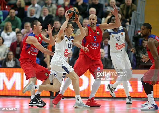 Jaycee Carroll #20 of Real Madrid in action during the 2016/2017 Turkish Airlines EuroLeague Regular Season Round 6 game between CSKA Moscow v Real...
