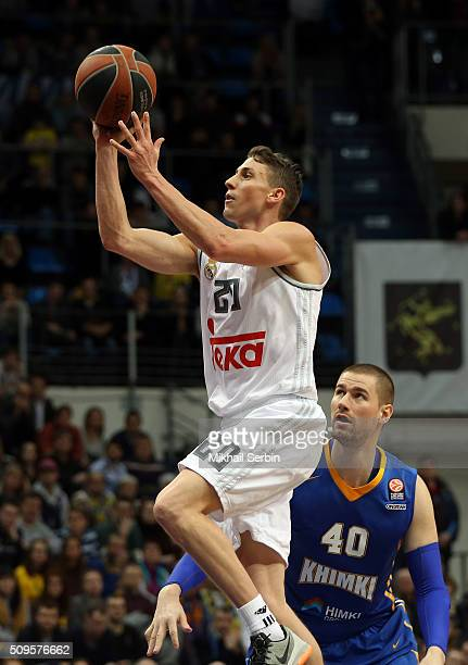 Jaycee Carroll #20 of Real Madrid in action during the Turkish Airlines Euroleague Basketball Top 16 Round 7 game between Khimki Moscow Region v Real...