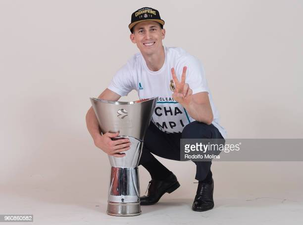 Jaycee Carroll #20 of Real Madrid poses during 2018 Turkish Airlines EuroLeague F4 Champion Photo Session with Trophy at Stark Arena on May 20 2018...