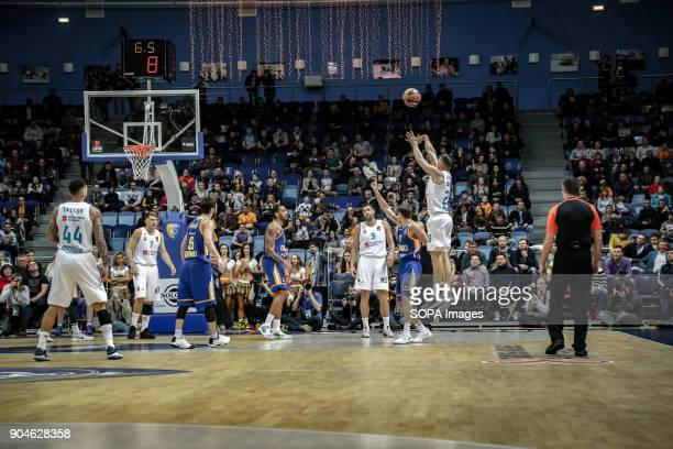 Jaycee Carroll #20 of Real Madrid shoots a three pointer during the 2017/2018 Turkish Airlines EuroLeague Regular Season Round 17 game between Khimki...