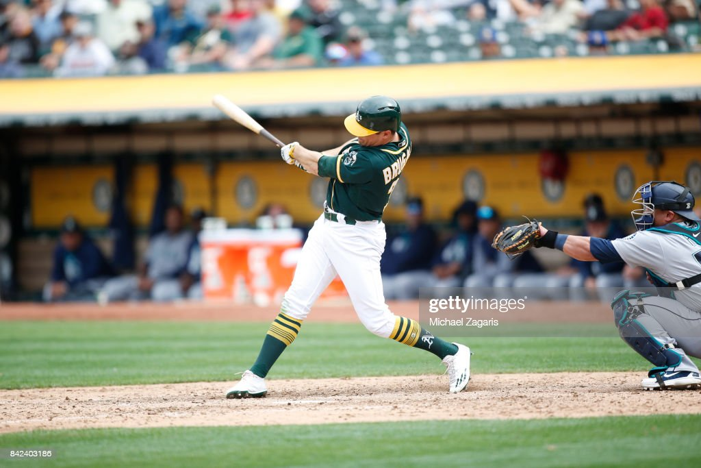 Jaycob Brugman #38 of the Oakland Athletics bats during the game against the Seattle Mariners at the Oakland Alameda Coliseum on August 9, 2017 in Oakland, California. The Mariners defeated the Athletics 6-3.