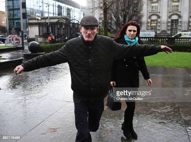 Jayda Fransen arrives at Belfast Laganside Courts this morning alongside an associate on December 14 2017 in Belfast Northern Ireland The Britain...