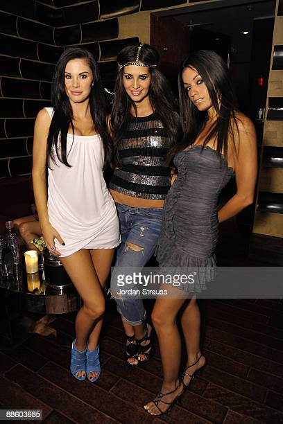 Jayde Nicole Hope Dworadzyk and Jo Garcia attend the Official OnlineBootyCall Million Dollar Sweepstakes Party at Opera Crimson on June 20 2009 in...