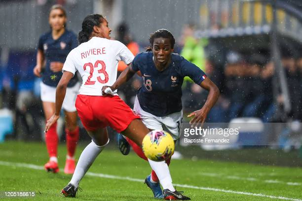 Jayde RIVIERE of Canada and Viviane ASSEYI of France during the Tournoi de France International Women's soccer match between France and Canada on...